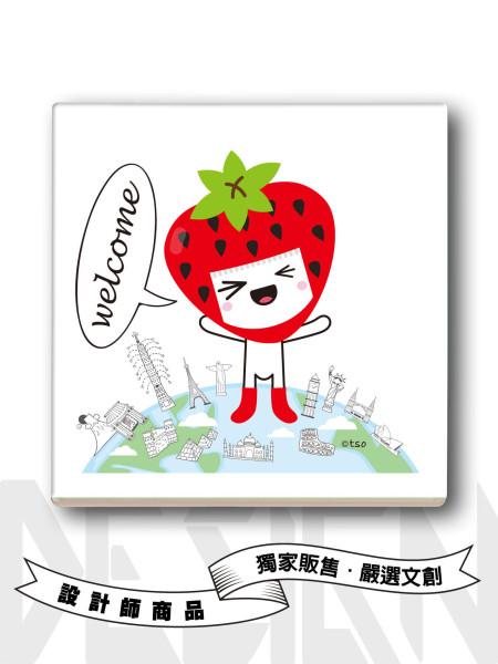 小草莓旅行吸水杯墊